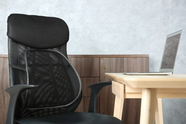 lumbar support pillow on office chair